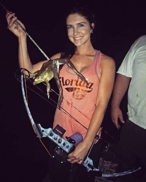 ladies fishing frog giging