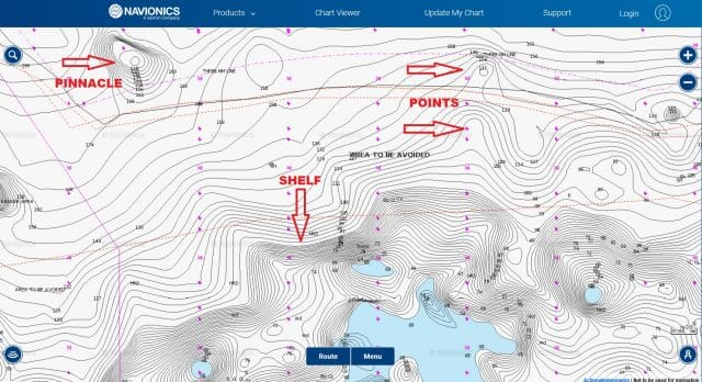 how to use navionics charts to find good fishing spots