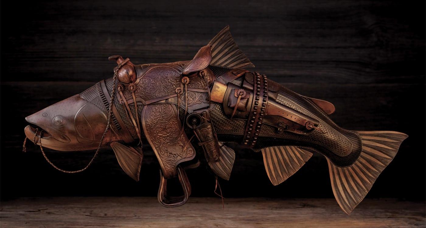 leather fish art