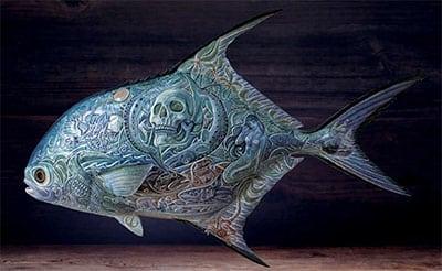 leather fish sculpture
