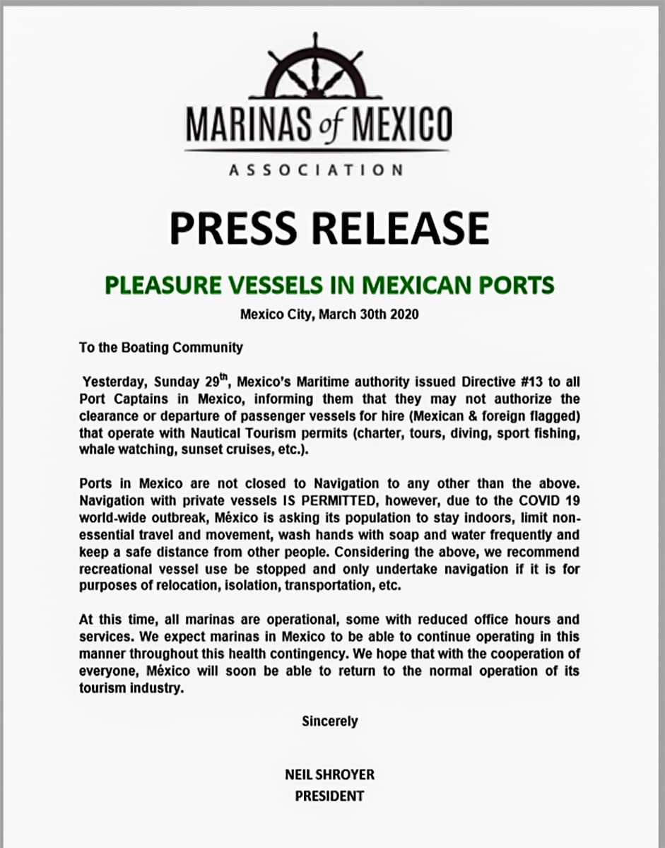 Mexico Marina Closure