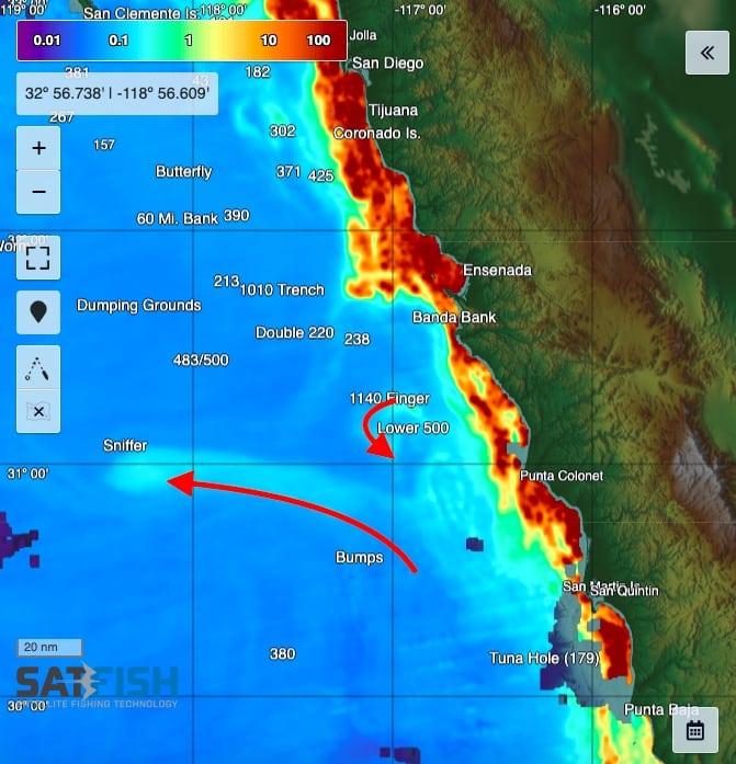 Chlorophyll jets and filaments Baja coast