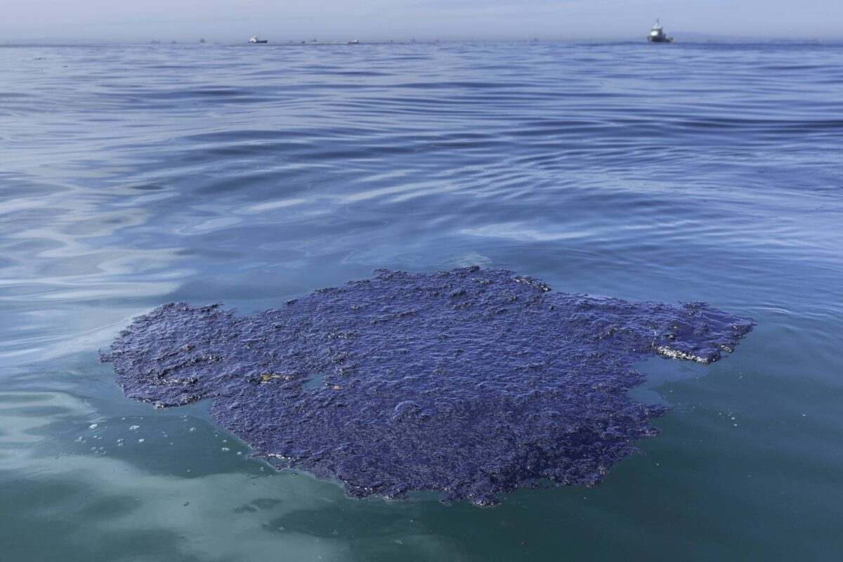 An oil patch floats in the waters off Huntington Beach, California, U.S., on Sunday, Oct. 3, 2021. Photographer: Tim Rue