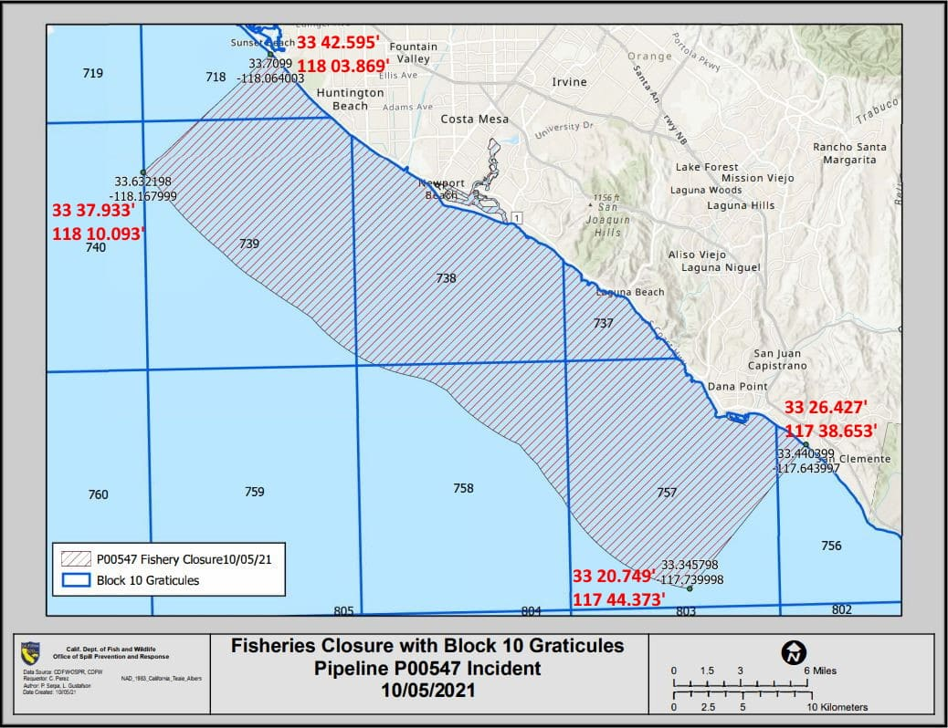 October 5th map update to the Fisheries Closure area due to the Huntington Beach oil spill